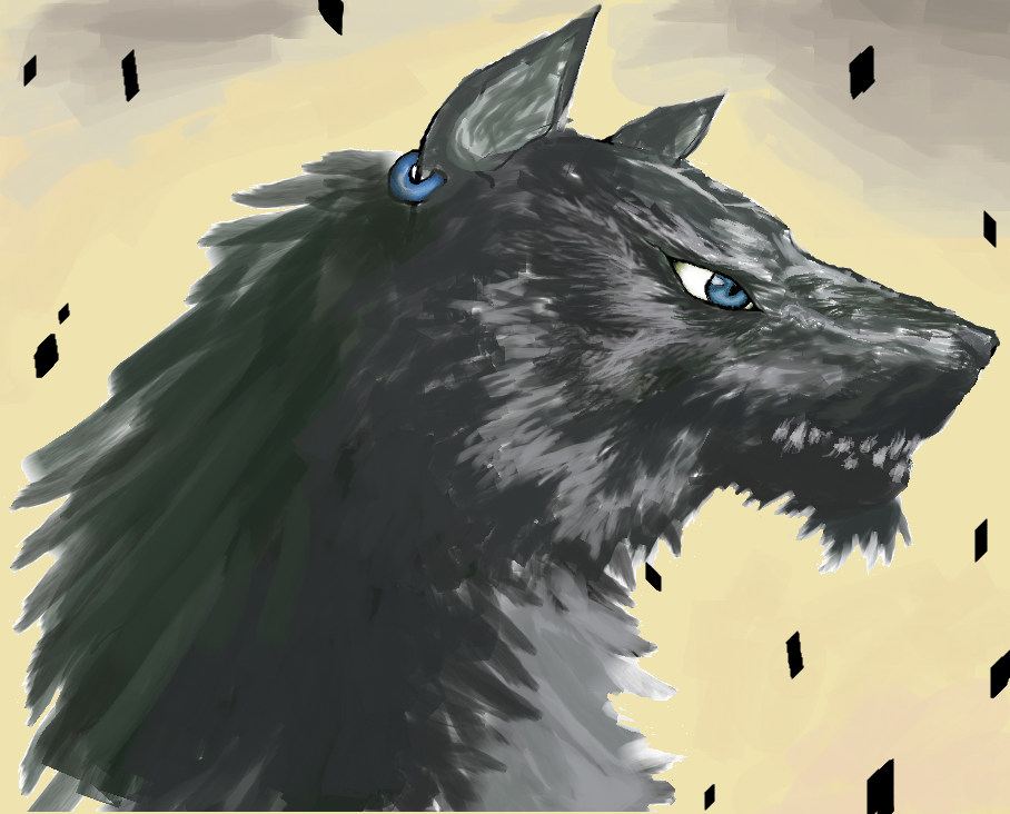 serigala, wolf link, drawn on computer
