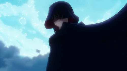 cloaked animé guy/girl