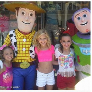 Kenzie,Paige,and Kendall with toy story characters