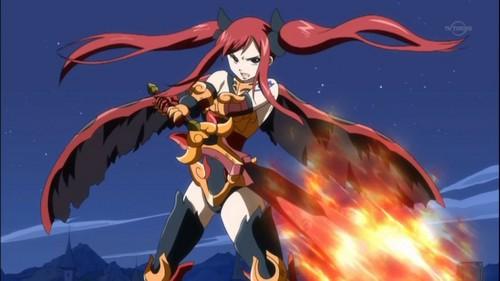 Fairy Tail karatasi la kupamba ukuta probably with anime titled erza in flame empress armor