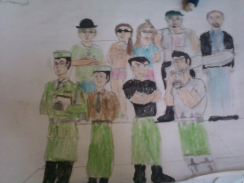 """humanized penguins, rata king, tommcgrath, cc, kristen annd me (in the hat, kirsten""""s my real cousin)"""