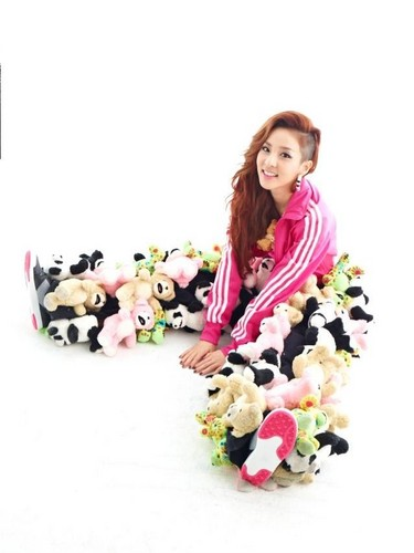 DARA 2NE1 wallpaper possibly containing a bouquet called dara 2NE1 teddy orso pants