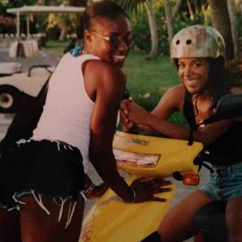 Aaliyah on her yellow scooter! :) *RARE*