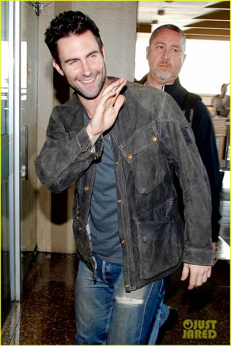 Adam and Behati arriving at their hotel in Rio de Janeiro - adam-levine Photo