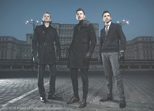 Akcent in front of Palace of Parliament (people's palace) Bucharest Romania romanians