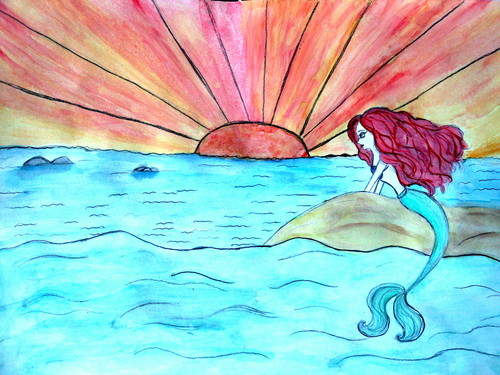 Ariel watercolor painting