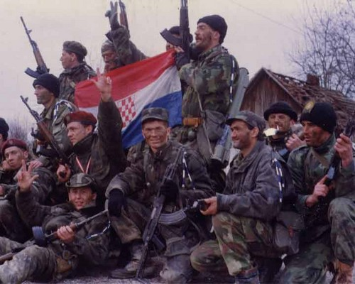 Army of Serbian Krajina with captured Croat flag