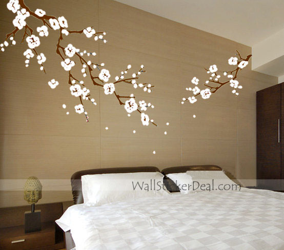 beautiful cherry blossom branches wall stickers home