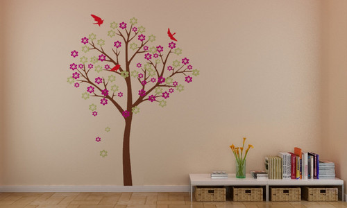 Beautiful cerise Blossom arbre With Birds mur Stickers