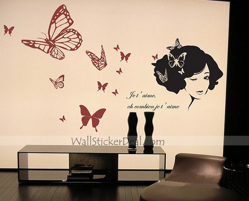 Beautiful Lady with schmetterling Wand Stickers