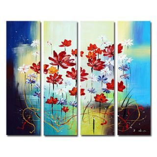 Fine Art Hintergrund with a holding cell and a stained glass window called Beautiful Smiling Blumen Oil Painting - Set of 4