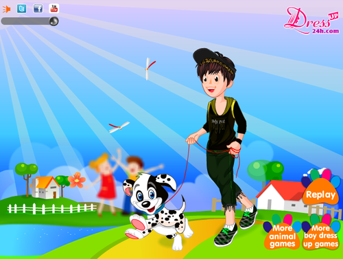 Boy with anak anjing, anjing - Dressup24h