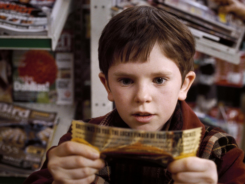 Charlie and the Chocolate Factory achtergrond containing a coffee break, a newsstand, and a sign titled Charlie Bucket