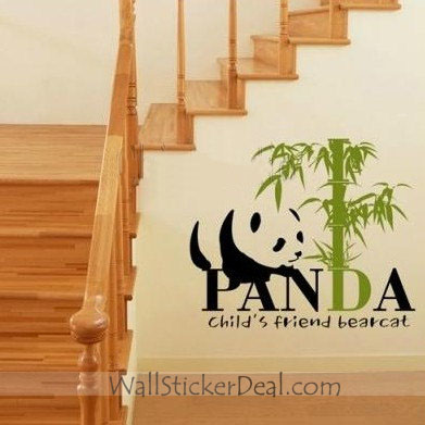 Child's Friend Bearcat Panda With Bamboo Стена Stickers