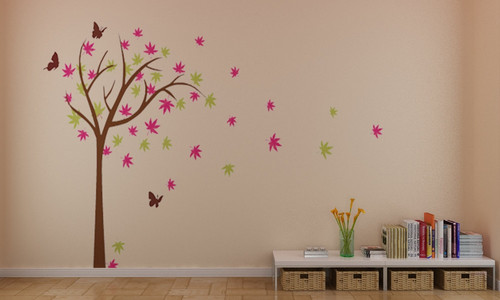 ہوم Decorating پیپر وال titled Colorful چیری, آلو بالو Blossom درخت With تیتلی دیوار Stickers