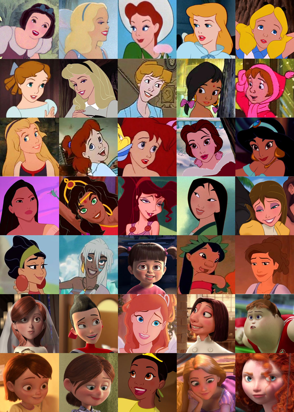 Disney human heroines from time to time