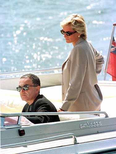 Princess Diana achtergrond possibly with a hot tub, a pontoon, and an automobile entitled Dodi and Diana on holiday, April, 1997