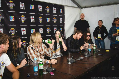 Evanescence wallpaper possibly containing a brasserie, a bistro, and a sign titled Evanescence - Press Conference in Dnepropetrovsk, Ukraine (June 29th, 2012)