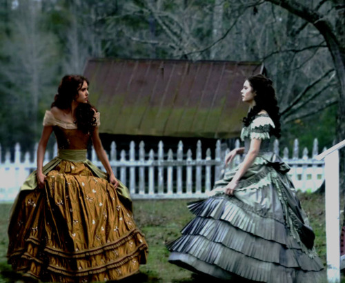 Katherine Pierce and Elena Gilbert wallpaper with a hoopskirt, a crinoline, and a polonesa, polonês, polonaise titled Katherine and Elena