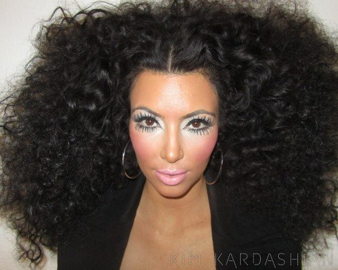 Kim with Diana Ross' look