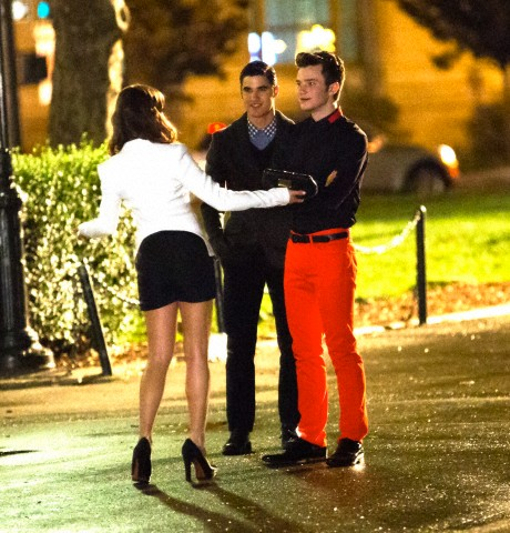 Lea Michele, Cory Monteith, Chris Colfer & Darren Criss Filming At A Park in New York