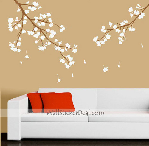 Lilac Cherry Blossom Branches Wall Sticker