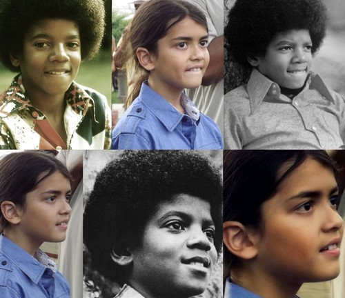 Blanket Jackson wallpaper probably containing a bridesmaid and a portrait titled Michael Jackson and his son Blanket Jackson ♥♥