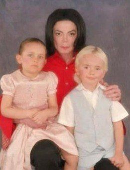 Michael With His Two Older Children, Prince And Paris