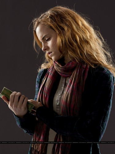 Hermione Granger wallpaper possibly containing a sign called New promotional pictures of Emma Watson for Harry Potter and the Deathly Hallows part 1