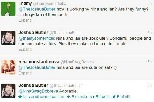 Ian Somerhalder and Nina Dobrev wallpaper called Nian Tweet