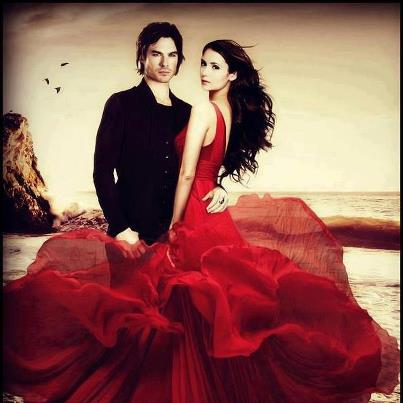 Ian Somerhalder e Nina Dobrev wallpaper possibly containing a cena dress, a gown, and a balldress called Nian!