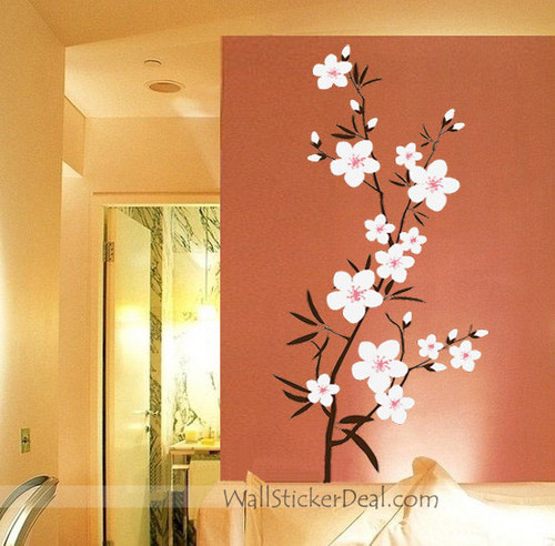 pêche, peach Blossom Branch mur Stickers