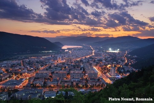 Piatra Neamt, Romania night aerial view beautiful scenery