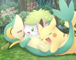 Pikachu Snivy and Shaymin