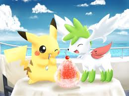 Pikachu and Shaymin ( Sky Forme )