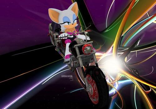 Rouge on shadow's bike