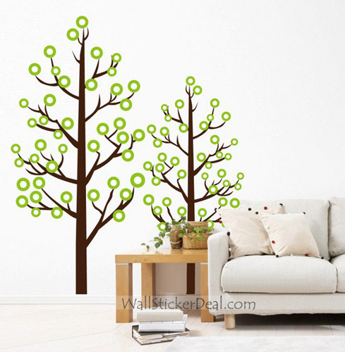 Главная Decorating Обои containing a living room, a family room, and a логово, ден called Round Leaves Couple дерево Стена Stickers