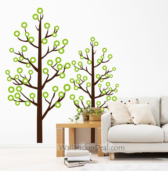 Round Leaves Couple Tree Wall Stickers