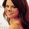 Selena Gomez photo containing a portrait, attractiveness, and skin entitled Selena Cat Icons