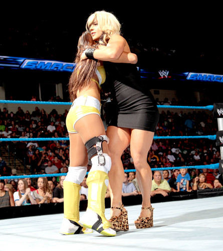 WWE 레일라 바탕화면 probably with a knee pad called Smackdown Digitals 8/24/12