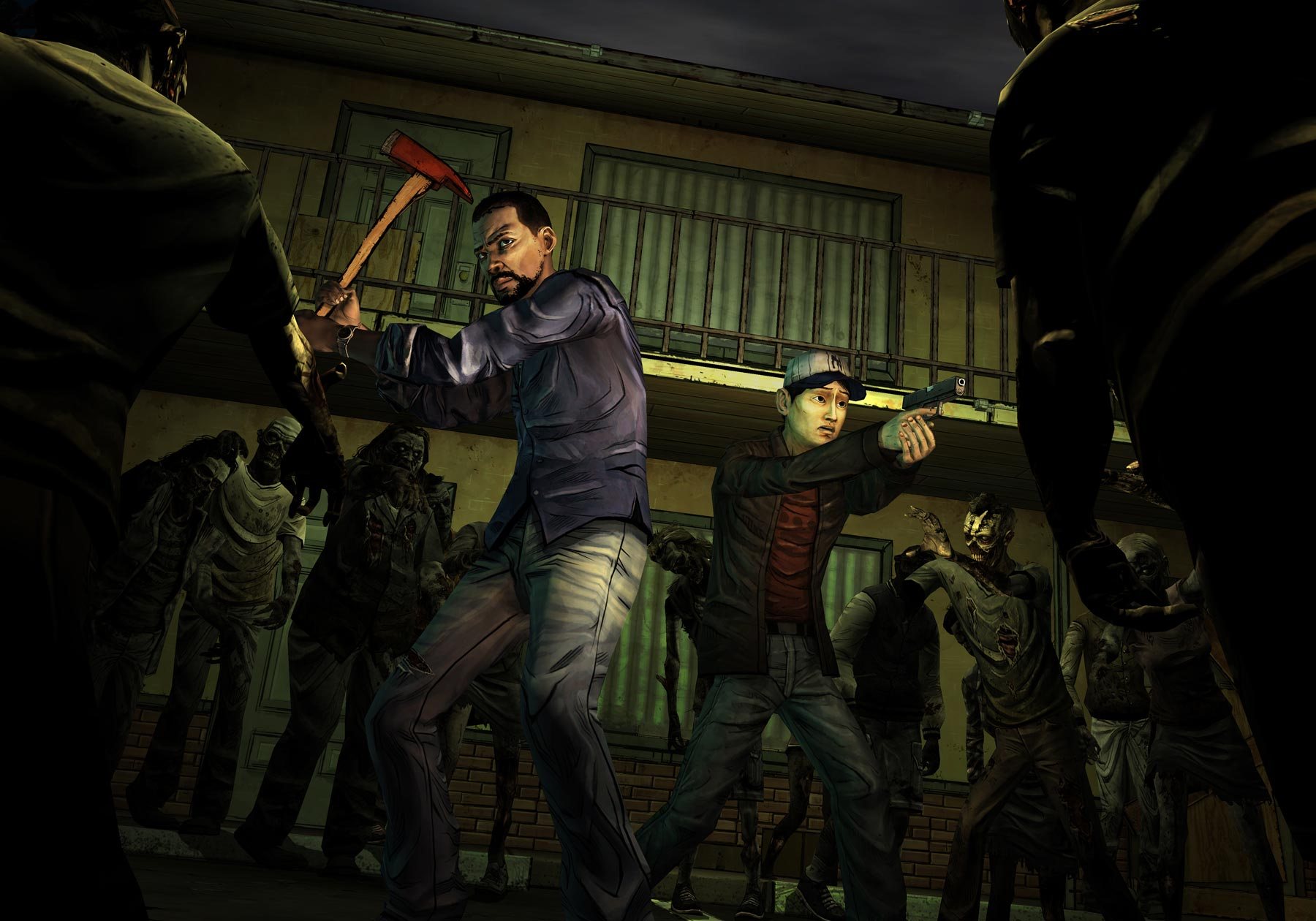 the walking dead game images surrounded hd wallpaper and background
