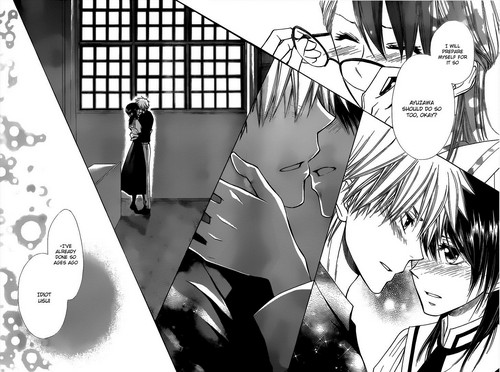 Takumi Usui x Misaki Ayuzawa karatasi la kupamba ukuta probably with a sign and anime called Usui X misaki manga kiss