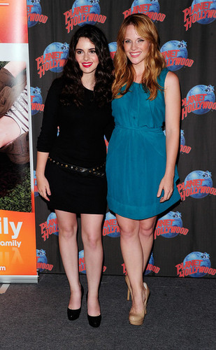 Vanessa Marano And Katie Leclerc Visit Planet Hollywood