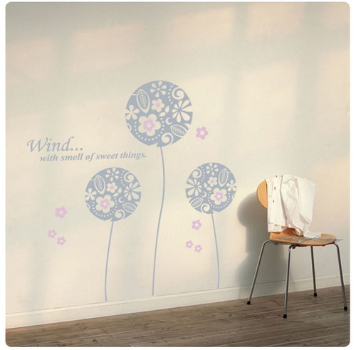 Wind With Smell of Sweet Things Flower Ball Wall Sticker - home-decorating Photo