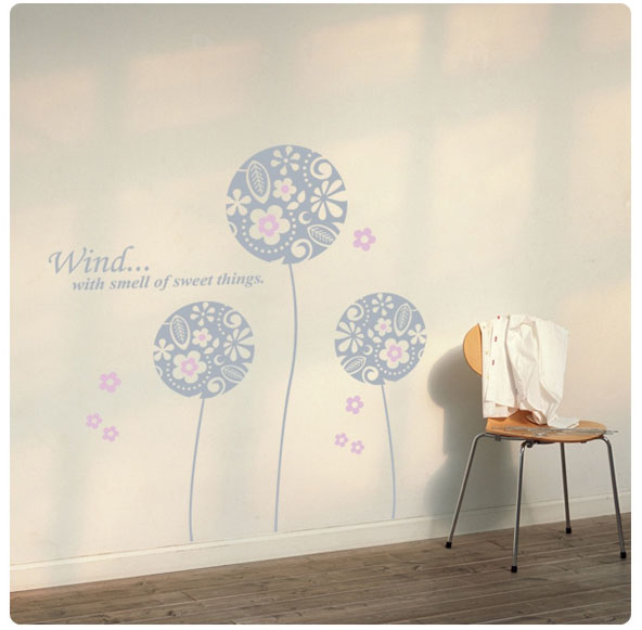 Wind With Smell Of Sweet Things Flower Ball Wall Sticker