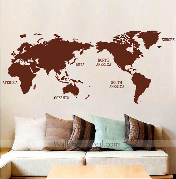 World Map Wall Art Stickers.Home Decorating Images World Map Wall Sticker Wallpaper And