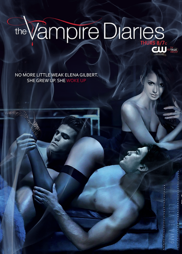 Damon & Elena wallpaper with a lingerie and skin titled season 4 poster