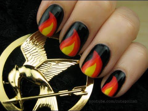 'The Hunger Games' nail art <3