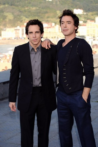 Ben Stiller and Robert Downey Jr. at La Concha beach
