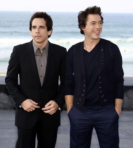 Ben Stiller and Robert Downey Jr. at La Concha пляж, пляжный